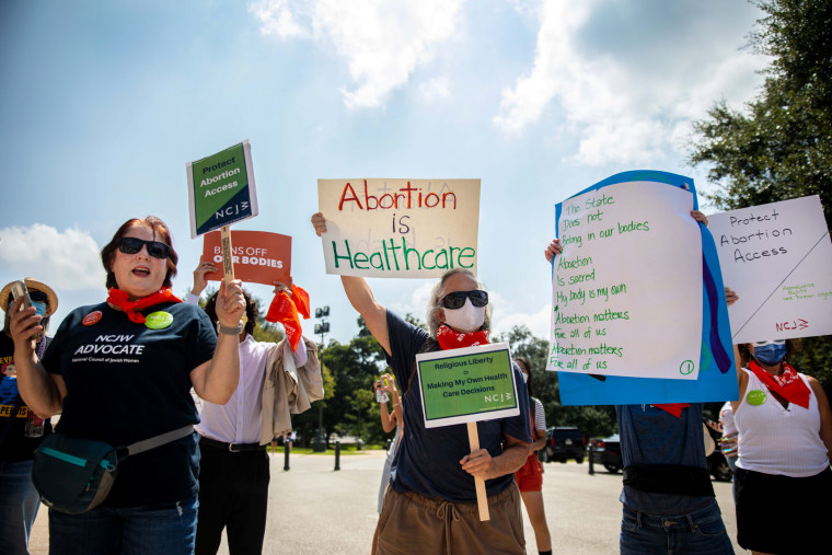 Image: A protest in support of abortion access outside the Capitol in Austin, Texas, on Sept. 1, 2021.