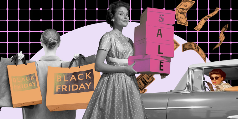 Illustration of vintage woman shopping and driving