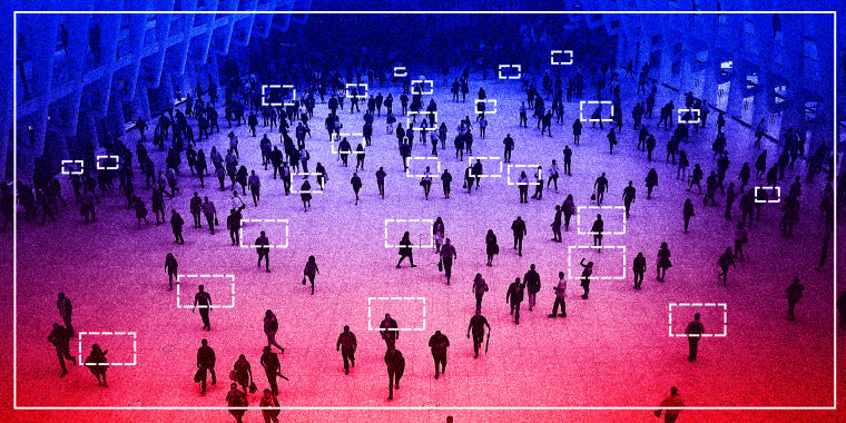 Photo illustration: Scan lines over an aerial shot of people walking.