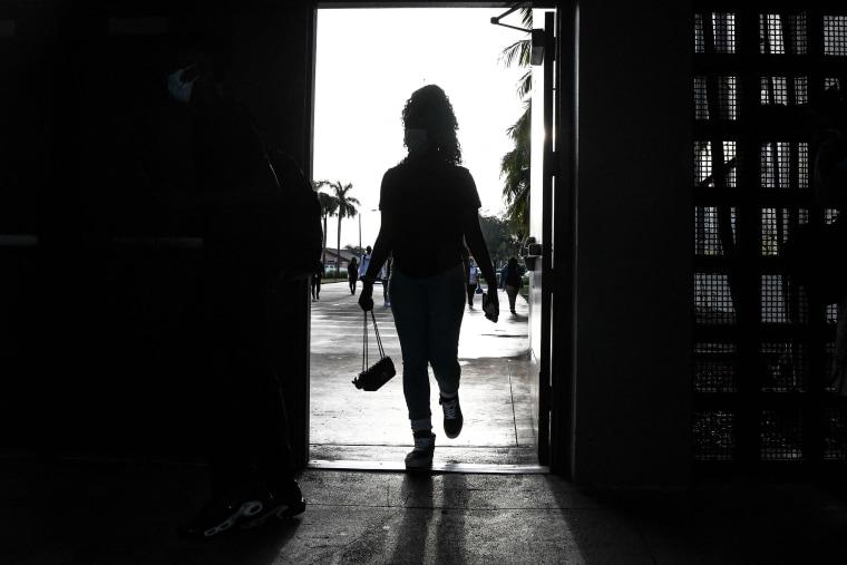 Image: Student enters school