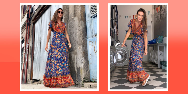 Two images of Writer Katie Jackson outside, wearing a maxi dress from Amazon selling for $27