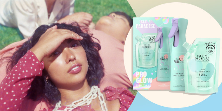 Image of a Young Women Lounging Outside, laying on her friend, blocking the sun out with her hand and the new Isle of Paradise tanning kit