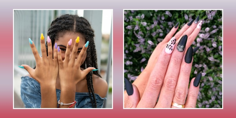 Close-Up Of Woman Fingers With Nail Art Manicure and Teen showcasing multicolored long nails