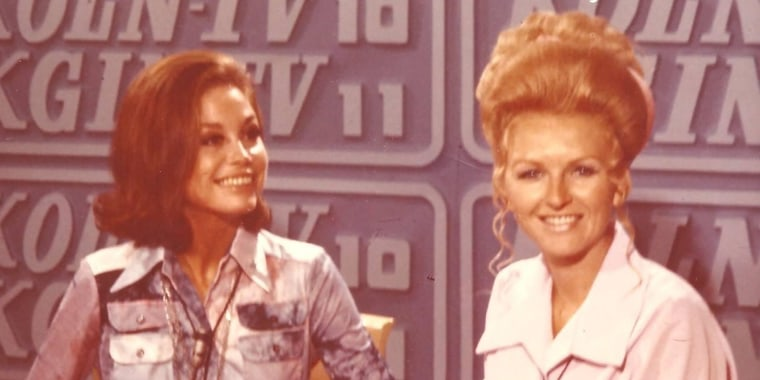 Leta Powell Drake (right) interviewed many celebrities, including Mary Tyler Moore (left).