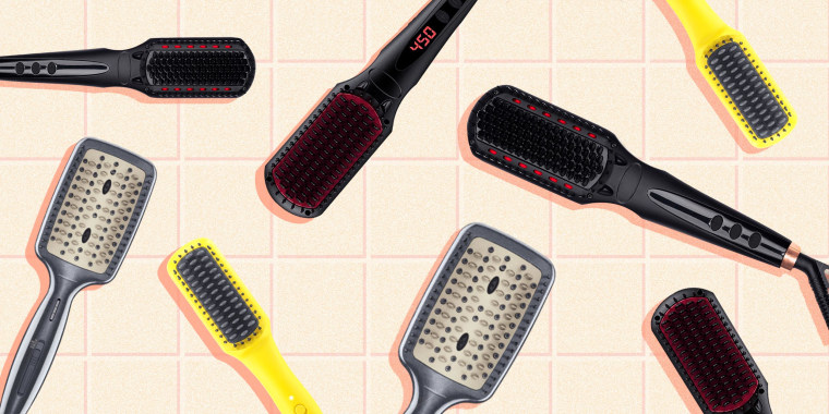 Illustration of different heat straightener brushes. Heated hair straightening brushes are bubbling up on TikTok, but what exactly are they? We consulted hairstylists and rounded up five top-rated options.