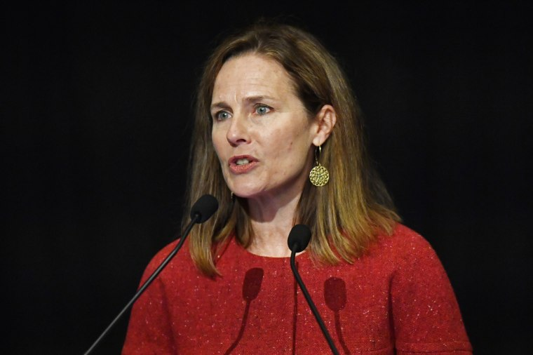Supreme Court Associate Justice Amy Coney Barrett speaks at the University of Louisville McConnell Center in Louisville, Ky., on Sept. 12, 2021.