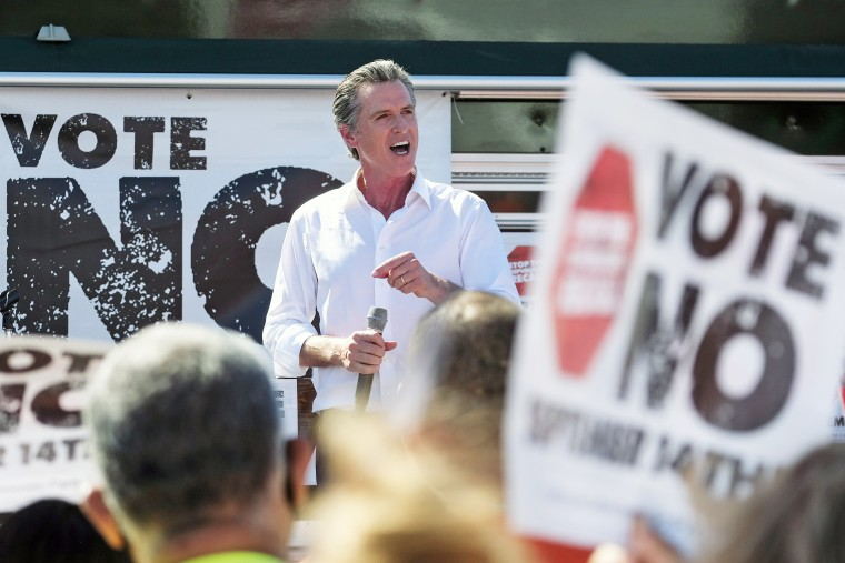 California Gov. Gavin Newsom speaks at a rally against the California gubernatorial recall election on Sept. 12, 2021, in Sun Valley.
