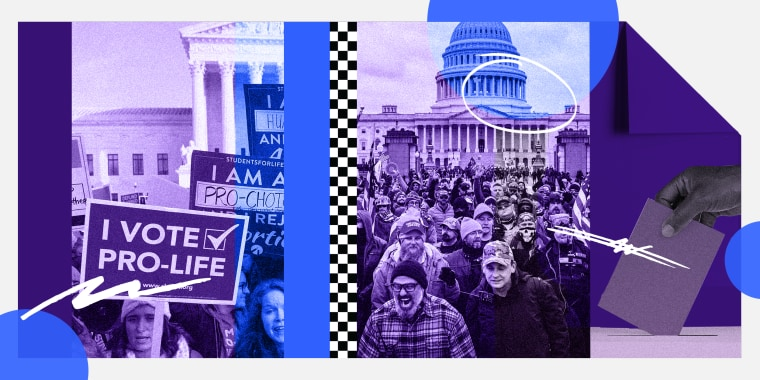 """Photo illustration: Image of protests in front of the Supreme Court, a sign reads,\""""I vote pro-life\"""", rioters in front the Capitol and a hand voting."""