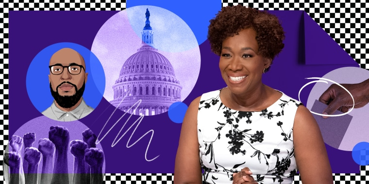 Photo illustration: A purple folded paper over a checkered pattern has images of hands raised in protest, the U.S. Capitol, illustration of Ja'han Jones, Joy Reid and a hand voting.