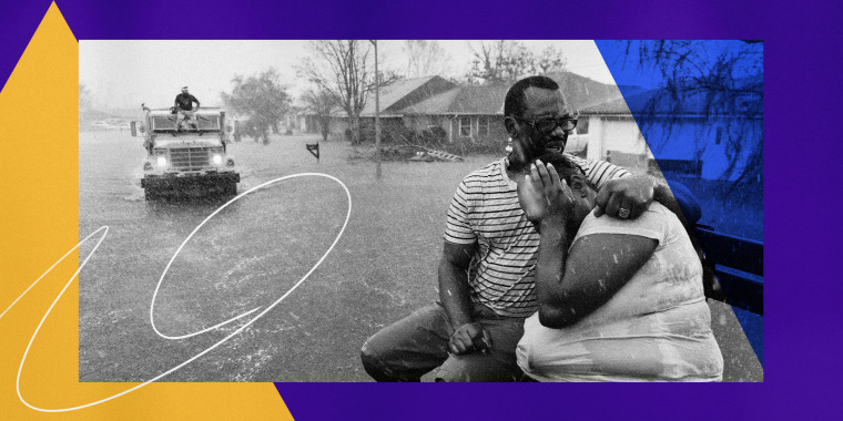 Illustration shows a photo of two Black Residents ride in a rescue boat through a flooded neighborhood in LaPlace, La., after Hurricane Ida struck on Aug. 30, 2021.