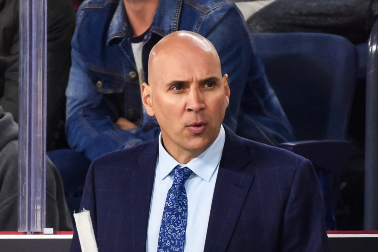 Head coach of the Laval Rocket Sylvain Lefebvre looks on from behind the bench against the Binghamton Devils on Oct. 13, 2017 in Laval, Quebec, Canada.