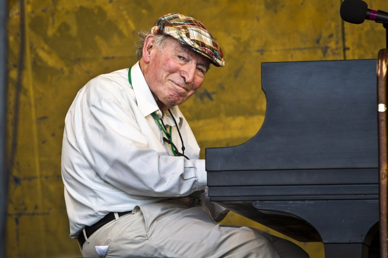 Jazz promotor and producer George Wein performs during the 2012 New Orleans Jazz and Heritage Festival on May 6, 2012 in New Orleans.