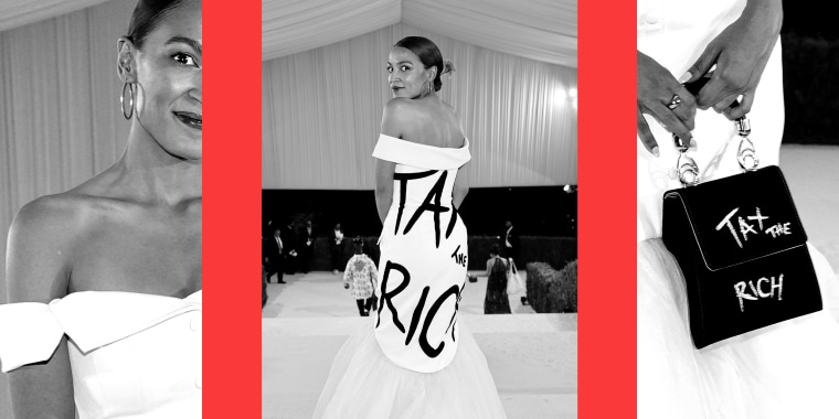"""Photo collage: Images of Alexandria Ocasio-Cortez at the 2021 Met Gala. The back of her dress and the close-up of her purse read, \""""Tax the rich\""""."""