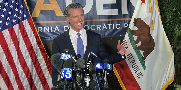 Image: Gov. Gavin Newsom addresses a crowd in Sacramento, Calif., on Sept.14, 2021.