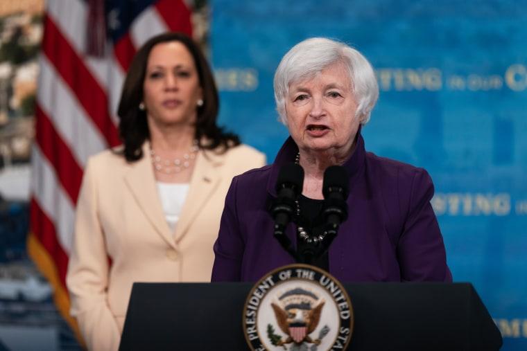 Treasury Secretary Janet Yellen speaks alongside Vice President Kamala Harris in Washington on June 15, 2021.