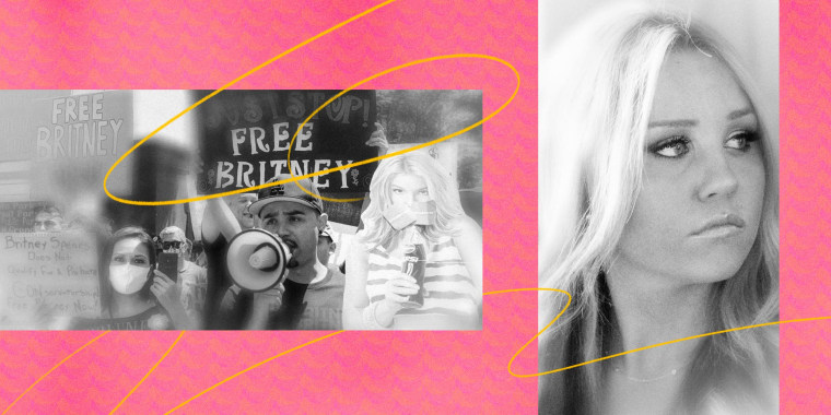 Illustration of a Free Britney Spears group and a photo of Amanda Bynes.