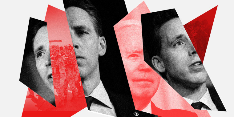 Photo illustration: Fractured images of Josh Hawley, Joe Biden and of the US troops returning from Afghanistan.