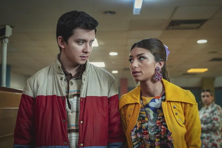 "Asa Butterfield as Otis Milburn and Mimi Keene as Ruby Matthews in the new season of Netflix's \""Sex Education.\"""