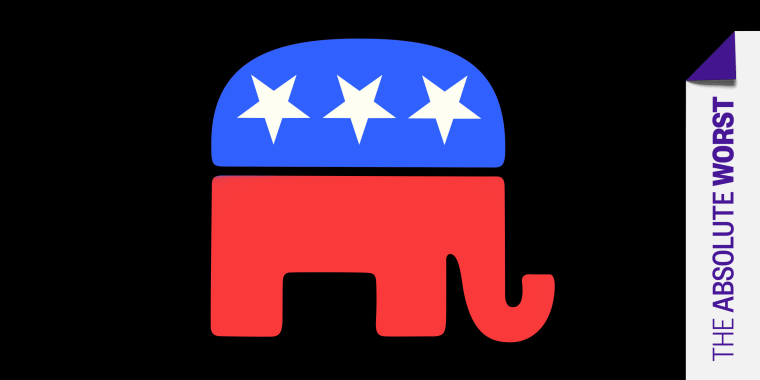 """Graphic: The Republican party symbol along with a tag that reads,\""""The Absolute Worst\""""."""