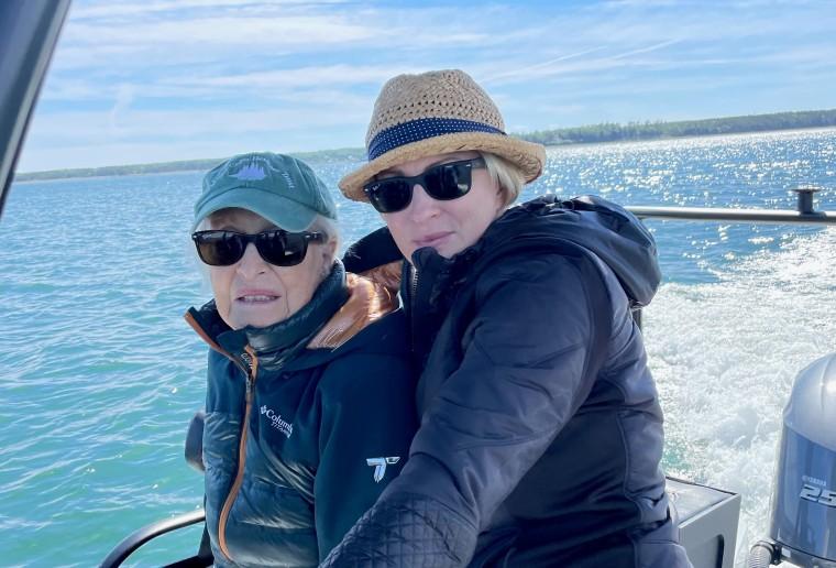 Mika Brzezinski and her mom, Emilie Brzezinski, earlier this summer in Northeast Harbor, Maine.