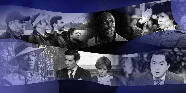 Illustration of photos from: Ted Lasso, Lovecraft Country, The Crown, Pose and Saturday Night Live