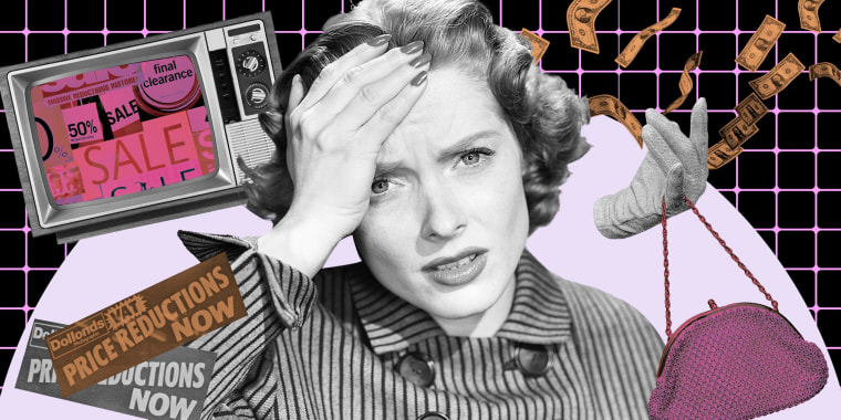 Illustration of a confused woman with money, sale signs, a tv and a purse floating around her