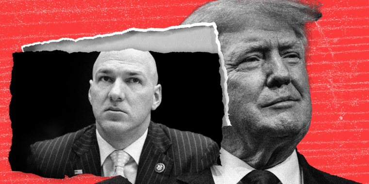 Photo illustration: A piece of paper with an image of Anthony Gonzalez torn out of a paper with the image of Donald Trump.
