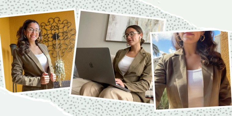 Three images of Writer Jillian Ortiz, modeling an olive blazer