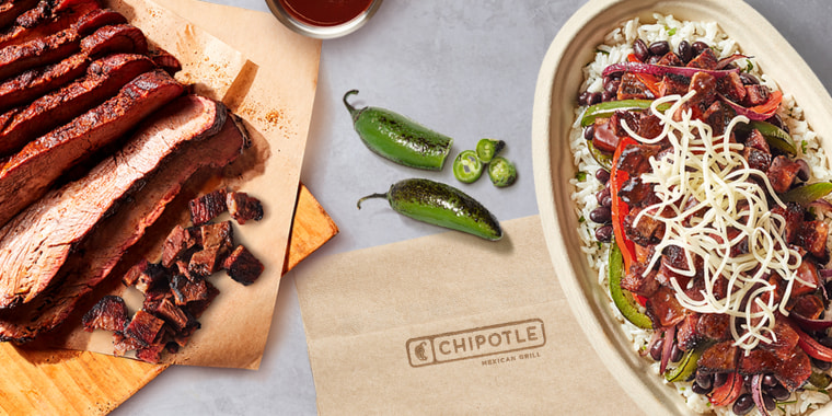 Chipotle's smoked brisket is seasoned with Mexican spices, fire-roasted jalapeños and chipotle peppers.