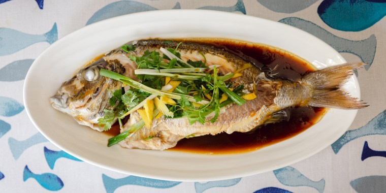 Steamed fish with Ginger & Scallion