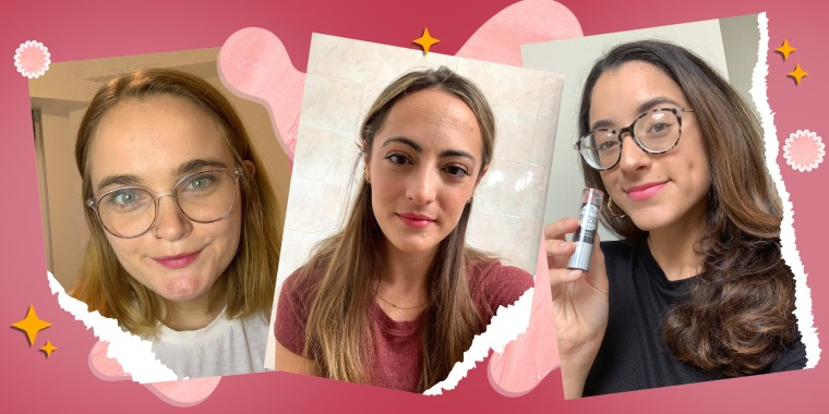 Images of Writers Emma Stessman, Danielle Murphy and Jillian Ortiz wearing the Essence Glimmer Glow Lipstick