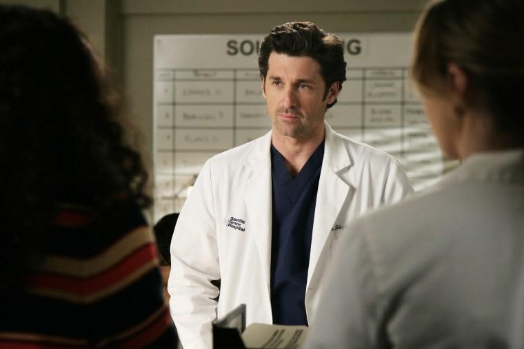"Patrick Dempsey as Derek Shepherd in the fourth season of the long-running drama \""Grey's Anatomy.\"""