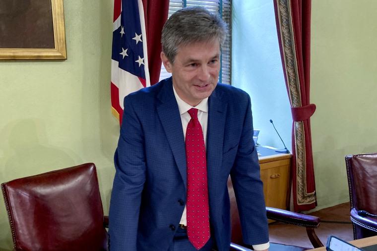 Ohio Senate Finance Committee Chairman Matt Dolan talks about the state's $75 billion budget in Columbus on June 8.
