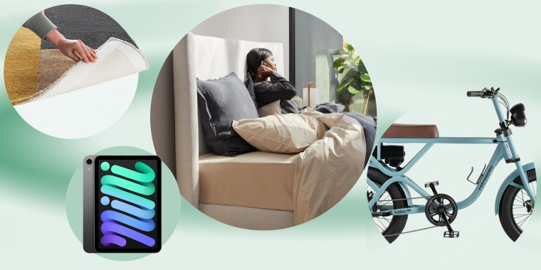 Illustration of the nw Burrow rug collection, new apple iPad, Retrospec e-bike and a woman in the new Parachute Canyon bed