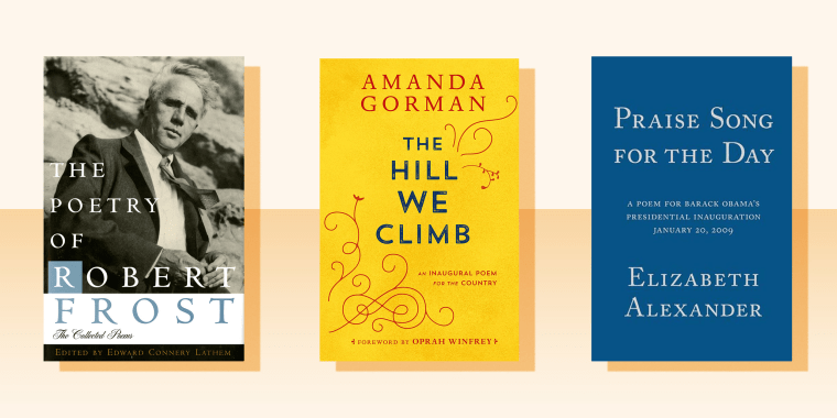 Image of three books - Image of The Hills We Climb by Amanda Gorman, The Poetry of Robert Frost and Praise Song for the Day