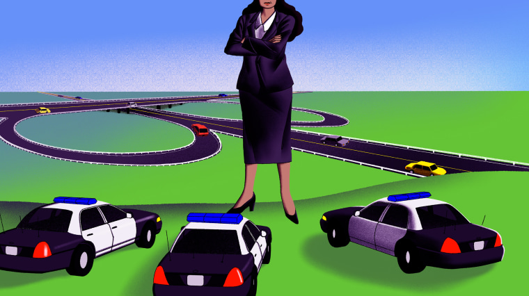 Illustration of a giant lawmaker standing in the way of police cars near a highway.