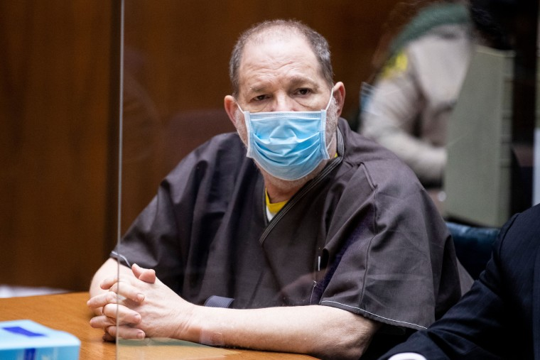 Former film producer Harvey Weinstein listens in court during a pre-trial hearing in Los Angeles on July 29, 2021.