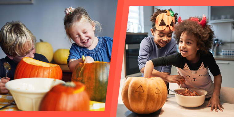 Two image of siblings carving out pumpkins at the kitchen table