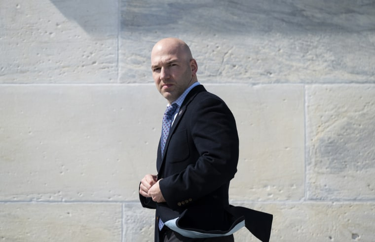 Rep. Anthony Gonzalez, R-Ohio, walks down the House steps after a vote on March 11, 2021.