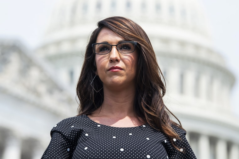 Rep. Lauren Boebert, R-Colo., attends a news conference outside the Capitol on July 29, 2021.