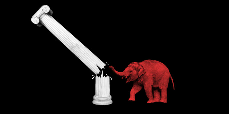 Photo illustration: A red elephant breaking down a white pillar that is more than half its size.