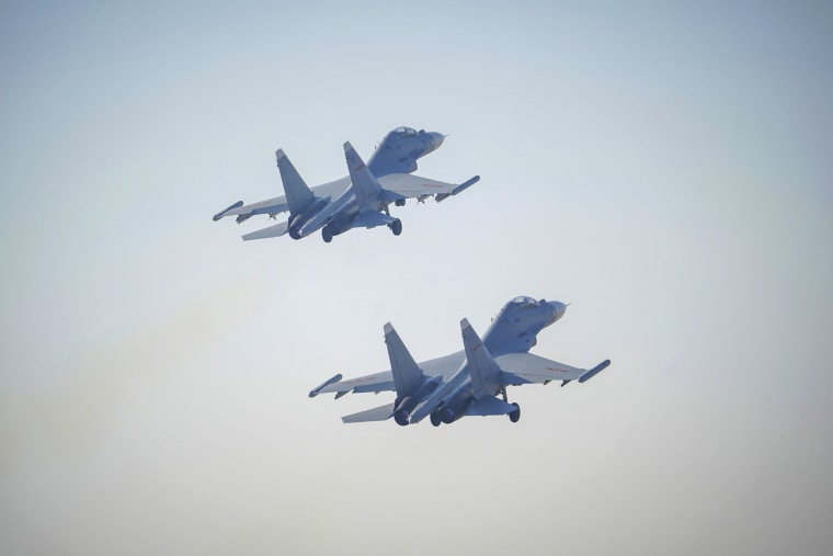 Two J-16 air fighters at a training base in China early this year. Taiwan said China sent 24 warplanes into its air defense zone on Thursday.