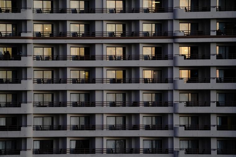 Image: Hotel room balconies in Huntington Beach, Calif., on Dec. 12, 2020.