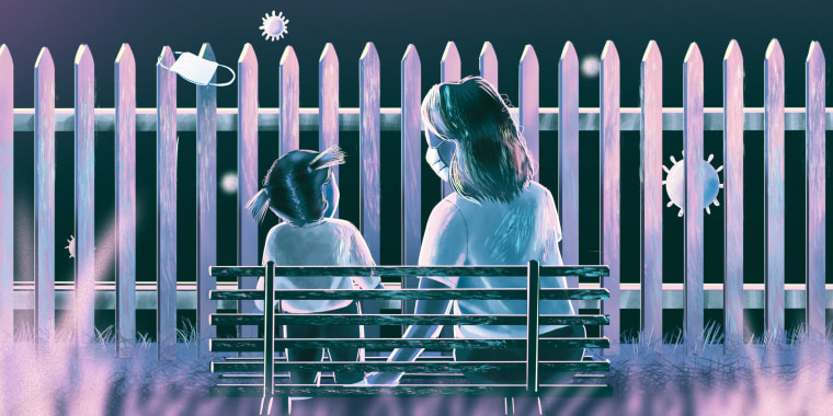 Moody illustration of woman and toddler behind a fence feeling left out of the COVID conversation