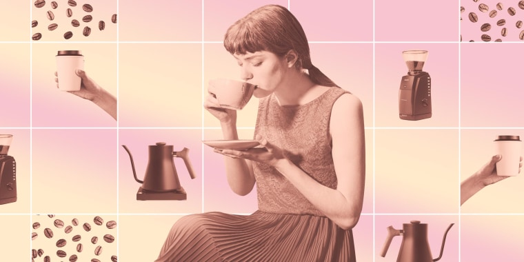 Illustration of a Woman drinking coffee surrounded by coffee beans, coffee cup and coffee making products