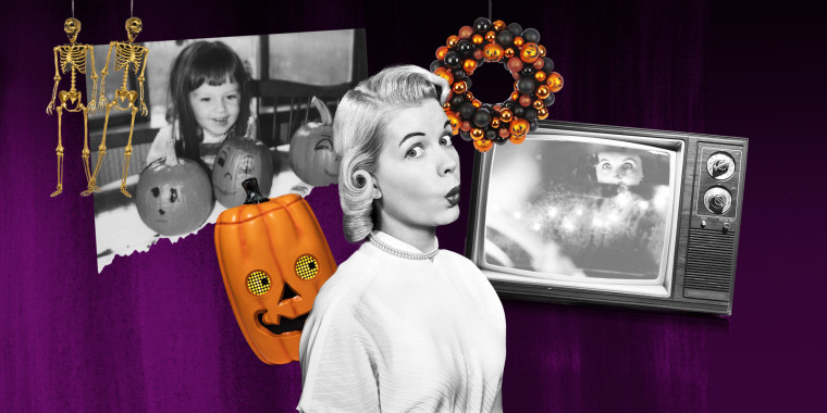 Illustration of a surprised woman, a child painting pumpkins, a scary image in a tv and different Halloween decor sold at target