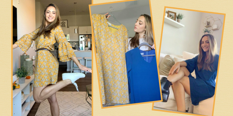 Images of Writer Danielle Murphy trying on a patterned and blue Belongsci Sweet & Cute V-Neck Bell Sleeve Shift Dress from Amazon