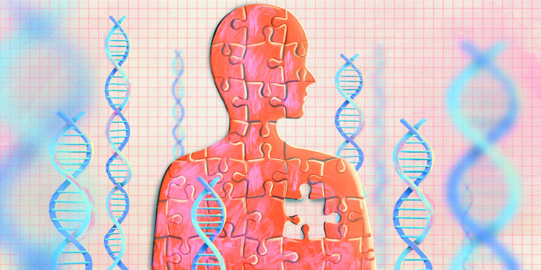 Illustration of woman made of puzzle pieces with DNA chains surrounding her