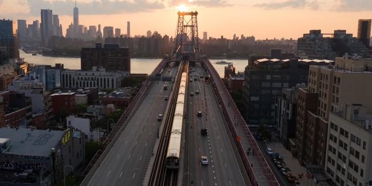 Sunset on Williamsburg Bridge in New York City