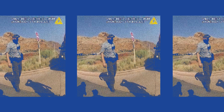 Photo illustration: A still of a police officer pulling over a van from a police camera video recording repeated thrice.
